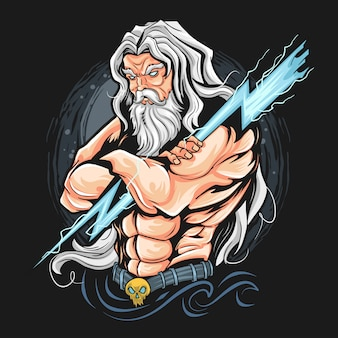 Thunder zeus god artwork kann für t-shirt- oder gamer-esport-logo verwendet werden. artwork ist in bearbeitbaren schichten
