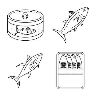 Thunfisch-icon-set. umrisssatz thunfischvektorikonen