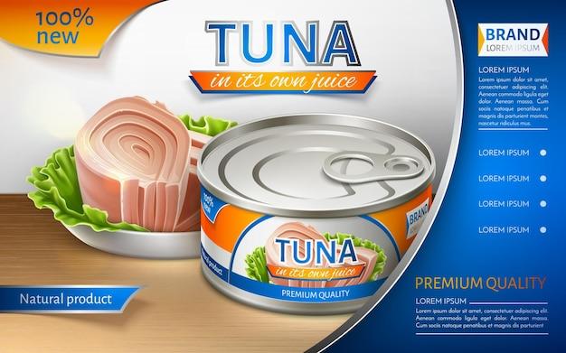 Thunfisch in dosen in einer eisendose. paketdesign. werbebanner. realistische vektorillustration.