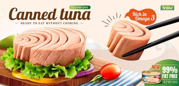 Thunfisch wird mit stäbchen im 3d-stil, dosenfutter banner aufgenommen