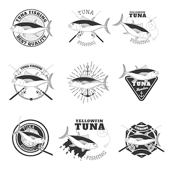Thunfischangeln. gestaltungselemente für das emblem des angelteams.