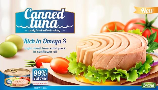 Thunfischbanner in dosen mit frischem gemüse im 3d-stil Premium Vektoren