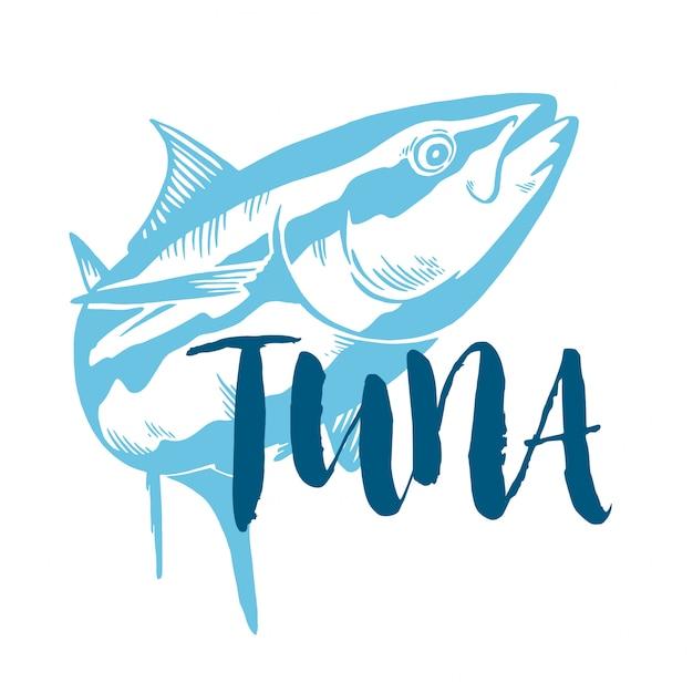 Thunfischsymbol auf weißem hintergrund