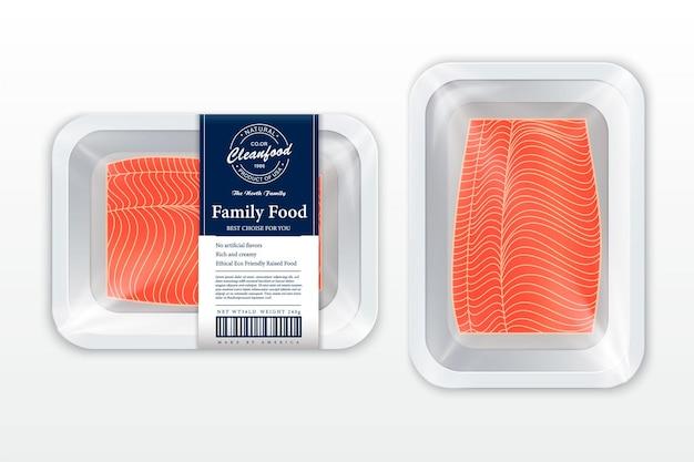 Thunfischverpackungsillustration weiße schaumstoffeinlage mit plastikfolienmodell modernes fischetikett Premium Vektoren