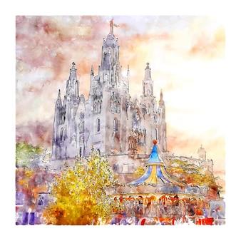 Tibidabo barcelona aquarell skizze hand gezeichnete illustration