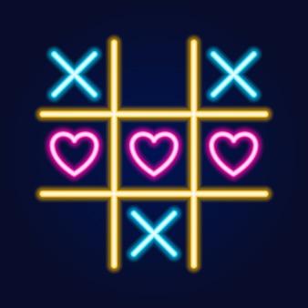 Tic tac toe-spiel, lineare neon gliederungssymbol