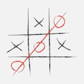 Tic-tac-toe. xo-spiel. in kreide gezeichnet. vektor-illustration.