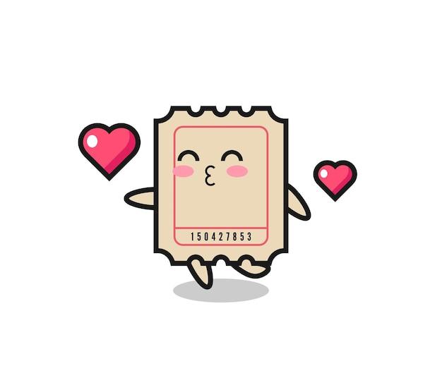Ticket-charakter-cartoon mit küssender geste, süßes design für t-shirt, aufkleber, logo-element