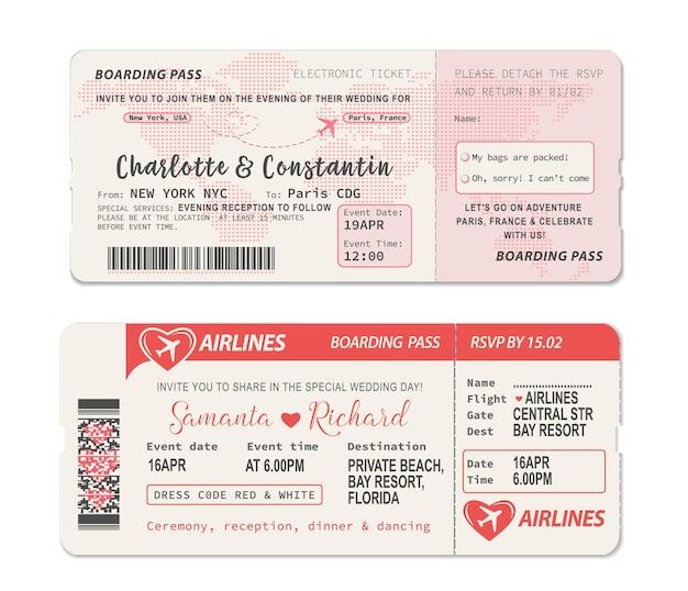 Ticket für die bordkarte. hochzeitseinladungsschablone mit flugzeugzeichnungsherz auf weltkarte während des fluges. hochzeitseinladungslayout als flugticket mit rsvp-perforation