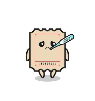 Ticket-maskottchen-charakter mit fieberzustand, süßes design für t-shirt, aufkleber, logo-element