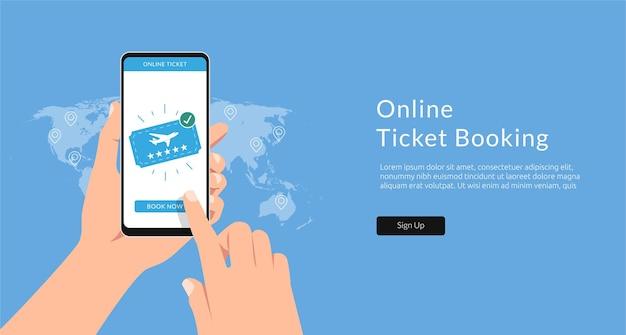 Ticket online mit smartphone kaufen. konzeptillustrationsschablone der flugbuchung.