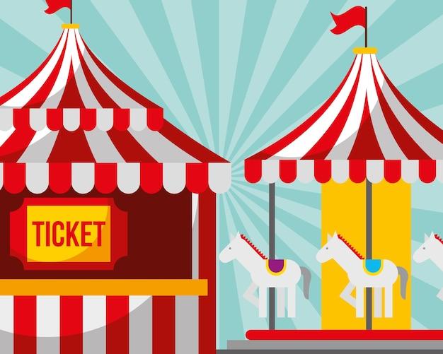 Ticket stand und karussell karneval spaß messe festival