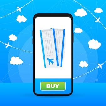 Tickets für das flugzeug auf einem smartphone. illustration.
