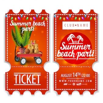 Tickets für die sommer-strandparty