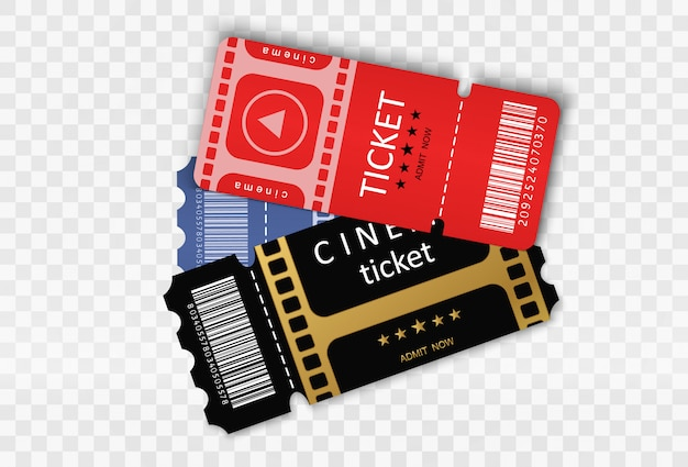 Tickets für die teilnahme an einer veranstaltung oder einem film auf transparentem hintergrund. schöne moderne reiseflyer.