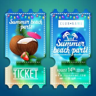 Tickets für eine strandparty mit einer schönen sommerlandschaft