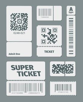 Tickets mit barcode qr code eingestellt. dokumentiert standard-barcode und den neuesten qr-identifikations-laser-scanning-symbol-aufkleber für einzelhandelswaren sowie moderne datenverfolgung.