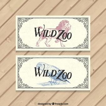 Tickets zoo mit vintage-dekoration