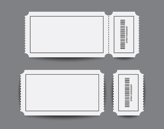 Ticketvorlagen für papierstummel mit zwei teilen.