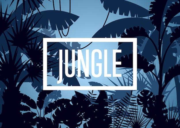 Tiefer tropischer dschungel mit palmblättern und baumhintergrund
