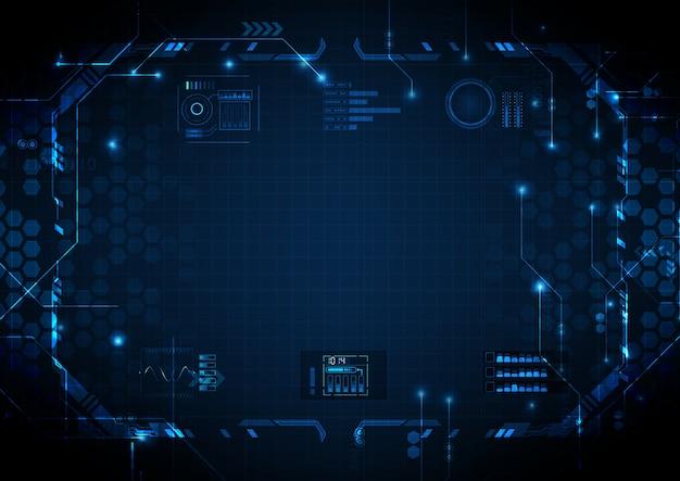 Tiefes hellblaues futuristisches stromkreis-digitaltechnik
