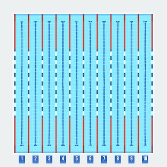 Tiefes piktogramm der tiefen badspuren des olympischen schwimmbades mit sauberem transparentem blauem wasser