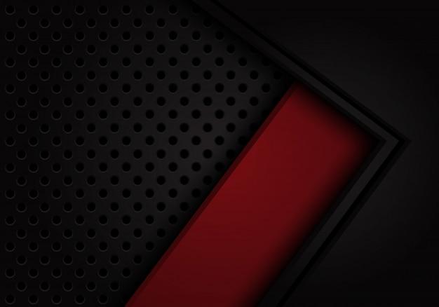 Tiefroter aufkleberhintergrund der abstrakten schwarzen pfeilkreismasche.