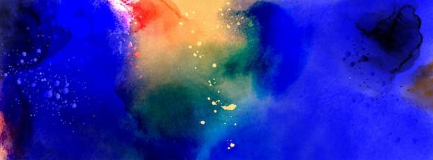 Tiefseewasserphantasie, aus bespritztem dunkelblauem aquarell