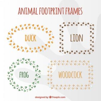 Tier fußabdruck frame sammlung