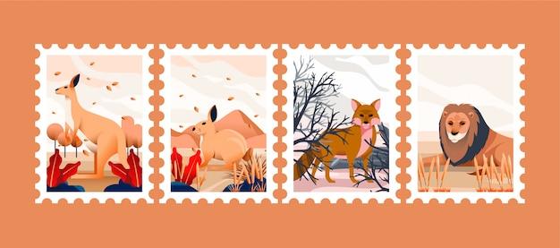 Tier gezeichnet für briefmarken