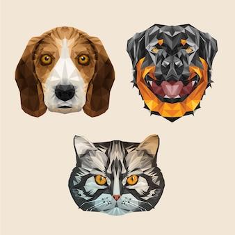 Tier haustier hund katze welpen kätzchen niedrig poly haustierfutter adorable