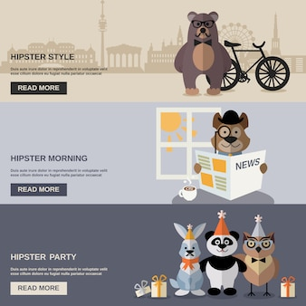 Tier-hipster-fahnenset