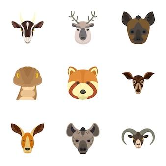 Tier-icon-set. flacher satz von 9 tiervektorikonen