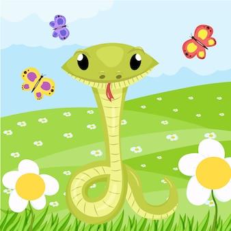 Tier-illustration der niedlichen grünen lächeln der karikatur schlängelt sich.