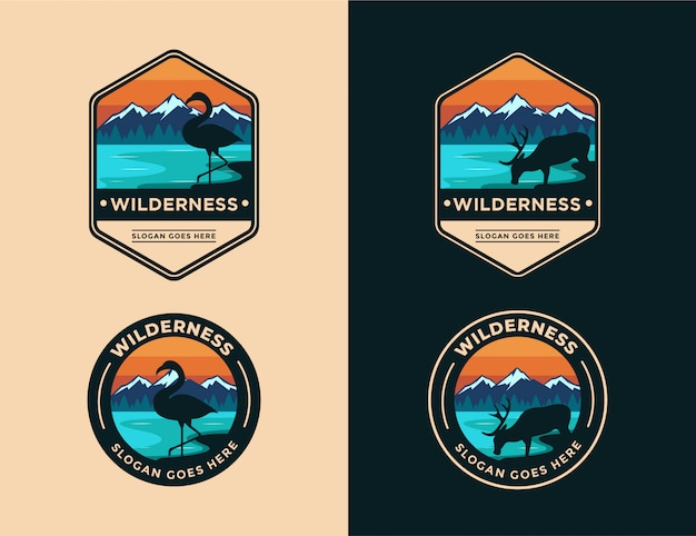Tier in der wilden landschaft logo set vorlage