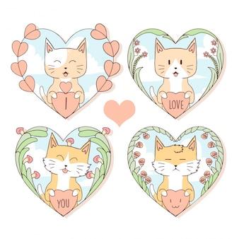 Tier-nette katze und fox in love herz