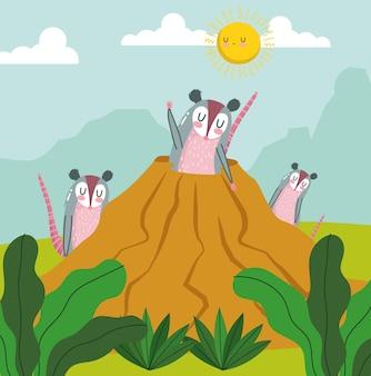 Tier-opossum-familienbau-karikatur