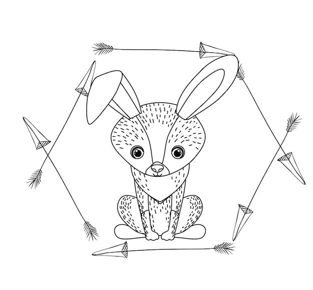Tier zeichnung stil boho symbol vektor-illustration grafik