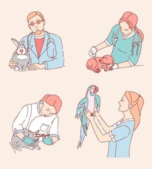 Tierärzte mit patientenabbildungen gesetzt. medizinische spezialisten, die zeichentrickfiguren von haustieren behandeln. tierklinik dienstleistungen, haustier arzt beruf design-elemente pack