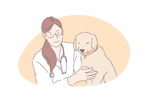 Tierärztliches krankenhaus, tierarztklinik, haustiergesundheitswesenkonzept