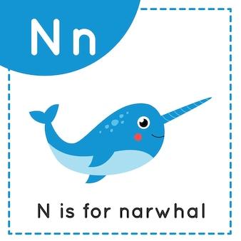 Tieralphabet-karteikarte für kinder. buchstaben n lernen. n steht für narwal.