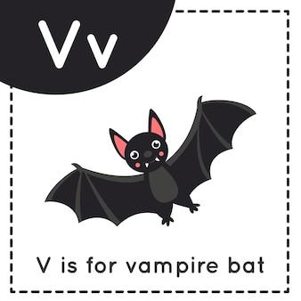 Tieralphabet-karteikarte für kinder. buchstaben v lernen. v ist vampirfledermaus.