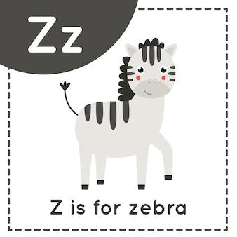 Tieralphabet-karteikarte für kinder. buchstaben z lernen. z ist zebra.