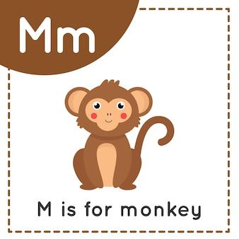 Tieralphabet-karteikarte für kinder. das lernen des buchstabens m. m ist für affen.