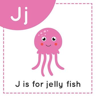 Tieralphabet-karteikarte für kinder. der lernbuchstabe j. j steht für quallen.