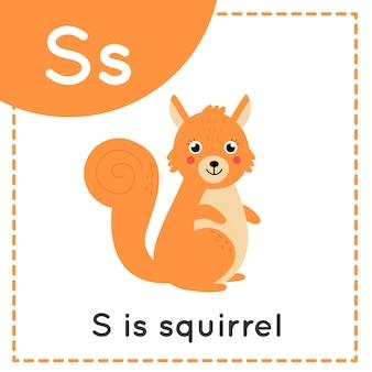 Tieralphabet-karteikarte für kinder. der lernbuchstabe s. s steht für eichhörnchen.