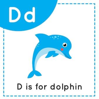 Tieralphabet karteikarte für kinder. lernbuchstabe d. d ist für delphin.
