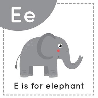 Tieralphabet karteikarte für kinder. lernbuchstabe e. e ist für elefanten.