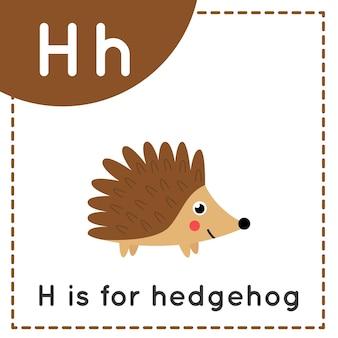 Tieralphabet-karteikarte für kinder. lernbuchstabe h. h steht für igel.