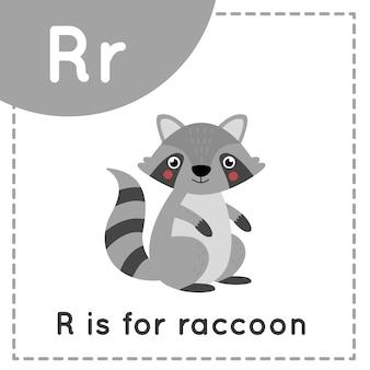 Tieralphabet-karteikarte für kinder. lernbuchstabe r. r ist waschbär.